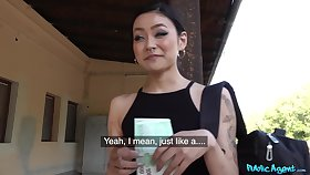 Asian receives cash to fuck random man and be filmed