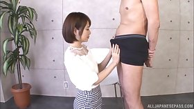 POV video of dirty Japanese get hitched Ogura Kana getting a facial