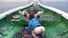 Oriental charmer Sena Sakura enjoying some steamy orgy after fishing