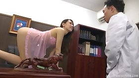 Horny Japanese cutie Kashii Ria loves having mating in the office