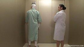 Japanese nurse Minako Komukai gets her pussy fucked by a patient