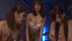 Lucky man gets his dick pleasured off out of one's mind three sexy Japanese babes