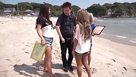 Lucky dude gets his dick pleasured by three horny Japanese models