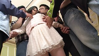 Asian in a miniskirt gangbanged by a group of guys