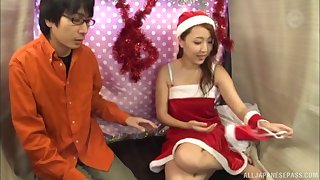 Sweet Asian babe is curious about a fellow's pulsating prick
