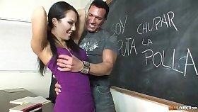 Asa Akira learns Spanish sucks male pole