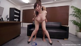 Asian milf fucked on the drop out of sight couch increased by jizzed on face