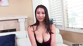 Asian MILF from France Sharon Lee is into riding drenched cock above top