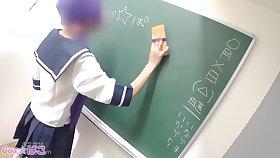 Powered teacher fingering pussy of Japanese schoolgirl